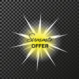 Yellow advertising label. Sun with sun rays on the transparent background. Special sale - Summer offer. Stock Images