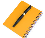 Yellow agenda and pen. Yellow agenda and fountain pen placed on it Royalty Free Stock Photos