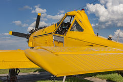Yellow agricultural aircraft ready to fly Stock Image