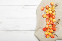 Yellow agriculture antioxidant cherry, berry background. Copy space for text stock image
