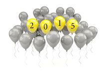 Yellow air balloons with 2015 New Year sign. On white vector illustration