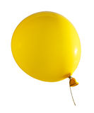 Yellow air flying ball isolated on white. Royalty Free Stock Photo