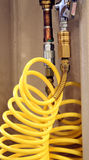 Yellow air hose Stock Images