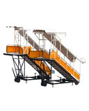 Yellow aircraft passenger stairs. Royalty Free Stock Images