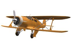 Yellow airplane. 3D isolated bi-plan Stock Images