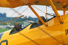 Yellow, Airplane, Aircraft, Aviation Stock Photo