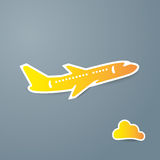 Yellow airplane and cloud icon on grey background vector illustration. Airport icon, airplane shape. Flat airplane on cloudy background. Vector colored design Stock Image