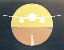 Yellow airplane drawing. Yellow taking off airplane image on dark background stock illustration