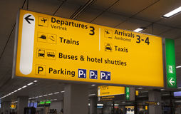 Yellow airport information sign Stock Photography