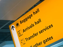 Yellow airport sign. Slanted detail shot of airport sign directing passengers to baggage/arrivals hall, transfer services and other gates royalty free stock image