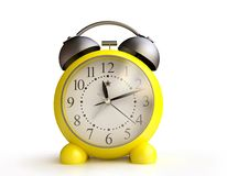 Yellow Alarm Clock in 3D Royalty Free Stock Photo