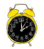 Yellow alarm clock cute art painting Stock Photo