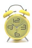 Yellow alarm clock isolated Royalty Free Stock Image