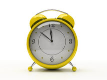 Yellow alarm clock isolated on white background 3D Royalty Free Stock Image