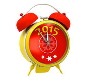 Yellow alarm clock 2015. Isolated on a white background Stock Images