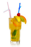 Yellow alcohol cocktail with fruit slices  Royalty Free Stock Photo