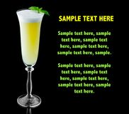 Free Yellow Alcohol Cocktail With Fresh Green Basil Isolated On Black Stock Image - 110561821