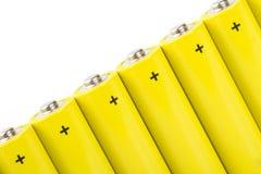 Yellow alkaline batteries Stock Photos