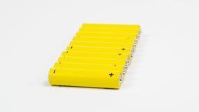 Yellow alkaline batteries... Royalty Free Stock Photo