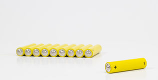 Yellow alkaline batteries... Royalty Free Stock Image