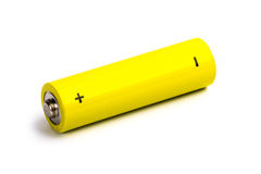 Yellow alkaline battery Stock Photography