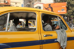 Yellow Ambassador taxi car in Kolkata Stock Image