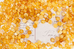 Yellow amber stones. Yellow amber stones on the background of an old postcard Royalty Free Stock Photo