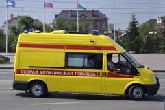 Yellow ambulance car on the street of Tyumen. Royalty Free Stock Images