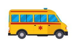 Yellow ambulance car vector illustration. Royalty Free Stock Photo