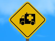 Yellow ambulance traffic sign Royalty Free Stock Photo