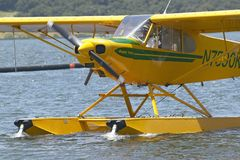 Yellow amphibious seaplane on Lake Casitas, Ojai, California Stock Image