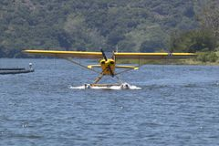 Yellow amphibious seaplane on Lake Casitas, Ojai, California Stock Images