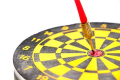 Free Yellow And Black Color Dartboard With Number And Have The Dart Hit At Red Dot On White Background & X28;Concept For Business Focus Stock Photography - 144406762