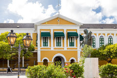Yellow And Green Govenment Building In Curacao Royalty Free Stock Images