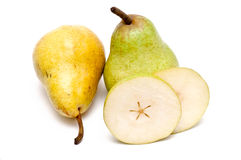 Yellow And Green Pear And Some Slices Stock Photography
