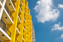 Yellow And White Building And Blue Sky Stock Photos
