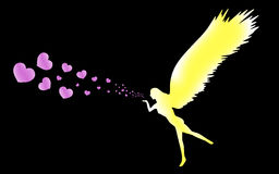 A yellow angel blowing pink hearts Royalty Free Stock Photography