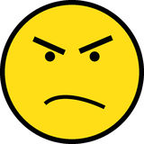 Yellow Angry Face royalty free illustration