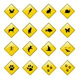 Yellow animal sign icons Stock Photo
