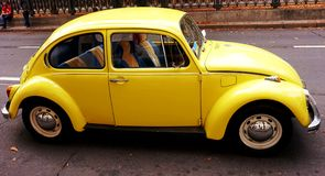 Yellow antique car: volkswagen beetle. royalty free stock photo