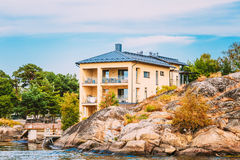 Yellow Apartment House In Helsinki, Finland Stock Image