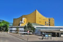 Rain pouring on Berliner Philharmonie building. Stock Photography