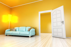 Yellow Apartment. A yellow apartment with a open door. 3D illustration Stock Images