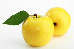 Yellow apple. On a white background Royalty Free Stock Photo