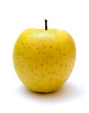 Yellow apple. Isolated on the white background Royalty Free Stock Images