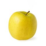 Yellow apple. Ripe yellow apple isolated over white Stock Photos