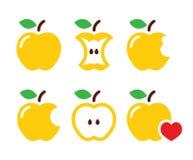 Yellow apple, apple core, bitten, half  icons Royalty Free Stock Photo