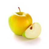 Yellow Apple with Apple Slice Stock Photo