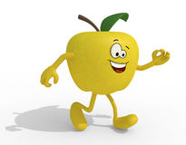 Yellow apple with arms, legs and face cartoon Royalty Free Stock Photography