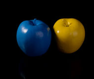 Yellow apple and blue apple. Stock Image